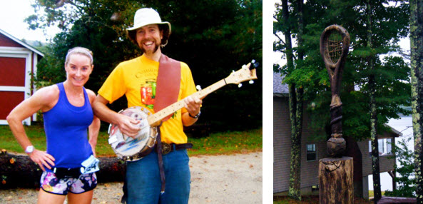 Banjo Player at Race and Tennis Racket Carved out of a Tree Stump